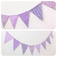 Purple Fabric Double-sided Bunting Pennant Flag Banner Wedding Photo Prop Girl Room Birthday Party Baby // Orchid Pastel Floral Stripe Plaid