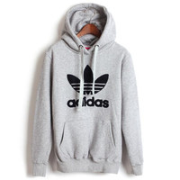 "Fashion ""Adidas"" Print Hooded Pullover Tops Sweater Sweatshirts Grey black logo"