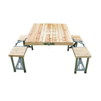 Picnic Table Outdoor portable Wood one piece folding  integrated folding table