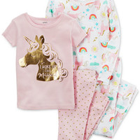 Carter's 4-Pc. Unicorn Cotton Pajama Set, Toddler Girls (2T-5T) | macys.com