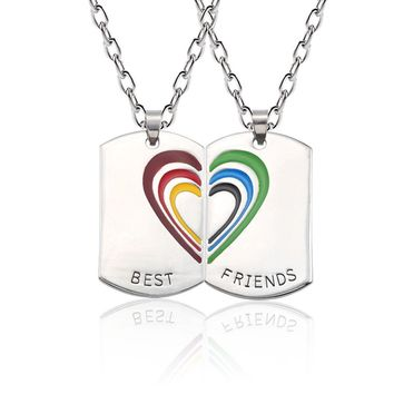 Trendy Best Friends Necklace For Women Best Friend Forever Pendant Rainbow Love Heart BFF Necklaces&Pendants Jewelry Gift