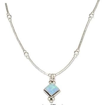 "Sterling Silver 16"" Liquid Silver And Diamond Shape Synthetic Blue Opal Necklace"