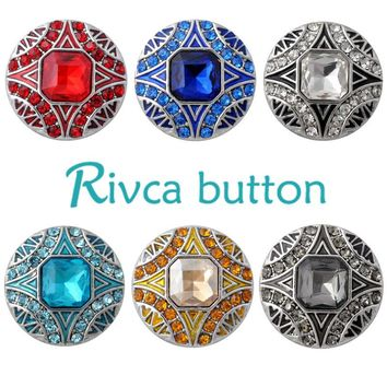 D02859 Hot Wholesale High Quality crystal styles 18mm Metal Snap Button Charm Rhinestone Styles Button rivca Snap Button Jewelry