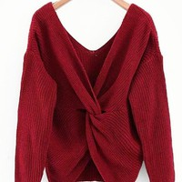 Twist Knitted Sweater - Wine