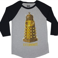 Doctor Who Gold Dalek Exterminate Raglan shirt with 3/4 black sleeves for sale online from OldSchoolTees.com
