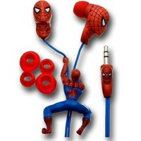 Spiderman Sculptured Earphones w/Slider & Jack Design