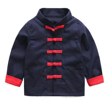 Mudkingdom Toddler Boys Chinese Costumes Long Sleeve Casual Jacket Traditional Tang Mandarin Collar Spring Autumn Kids Clothes