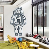 Wall Decor Vinyl Sticker Room Decal Space Cosmos Sky Fly Flying Cosmonaut People Man Astronaut Spaceman Spacesuit Armour Armor (S93)