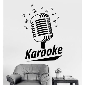 Vinyl Wall Decal Karaoke Club Retro Microphone Song Singer Stickers Unique Gift (1067ig)