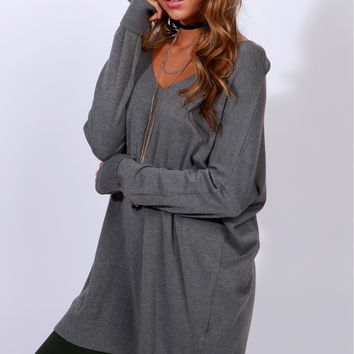 Contemporary V-Neck Sweater Charcoal