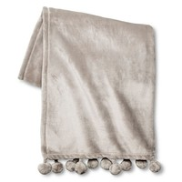 "Xhilaration™ Pom Pom Throw - Jet Gray (50""x60"") : Target"