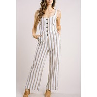 Cindy White Striped Jumpsuit
