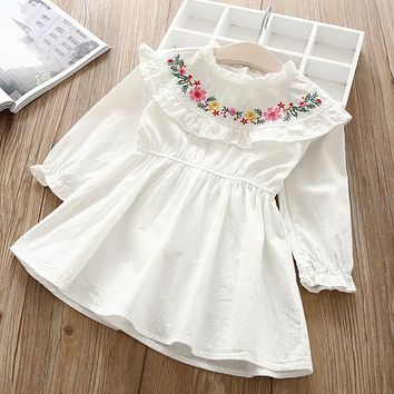 Baby Girl O-NECK embroidery Dress Clothes Children Long Sleeve clothing Casual cotton ruffles Dresses