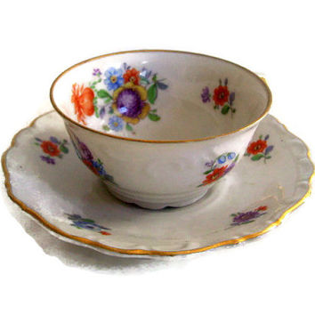 Vintage Schumann- Demitasse Cup and Saucer- Bavaria Germany- US Zone- Bouquet Pattern-Florals in White-Tea Cup-Cottage Chic-