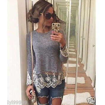 Fashion Women Summer Vest Top Long Sleeve Casual Tops T-Shirt Lace