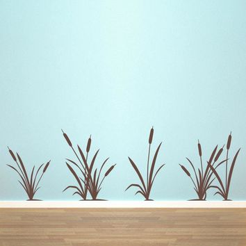 Marsh Grass & Cattails Decal Set - Nature wall decal - Cat tails Wall Decor - Large Set of 6