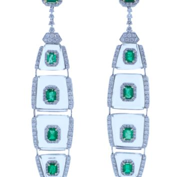 Emerald Diamond And Rock Crystal Earrings | Marissa Collections