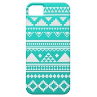 Mai - Turquoise Teal White Ombre Aztec Pattern iPhone 5 Cover