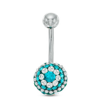 014 Gauge Belly Button Ring with Green and White Crystals in Sterling Silver - - View All - PAGODA.COM