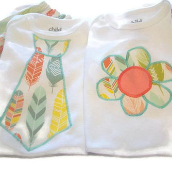 Boy Girl Twin Outfits - Cute Twin Clothes - Baby Boy Girl Twin Gifts- Twin Diaper Covers - Twin Bodysuits - Matching Sibling Outfits