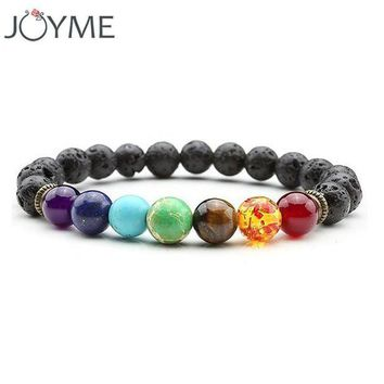 ONETOW joyme new 7 chakra bracelet men black lava healing balance beads reiki buddha prayer natural stone yoga bracelet for women  4