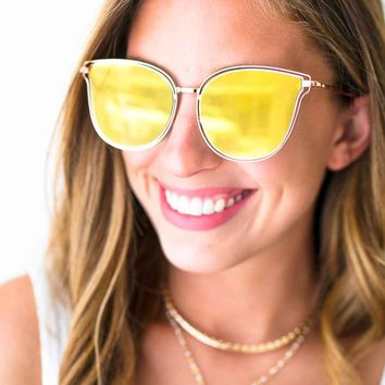 Time to Go Yellow Mirrored Sunglasses