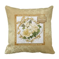Floral Gold 50th Wedding Anniversary Throw Pillow