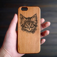 Cute Cat Wood iPhone 6 6s Case , Personalized Wood iPhone 6 6s Case , Engraved Wood iPhone 6 6s Case , Valentine's Gift , Stocking Stuffer