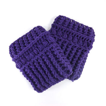 Crochet Chunky Boot Cuffs /VIOLET/, Boot Toppers, Leg Warmers, Gift Idea