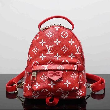 LV Women Red Casual School Bag Cowhide Leather Backpack F