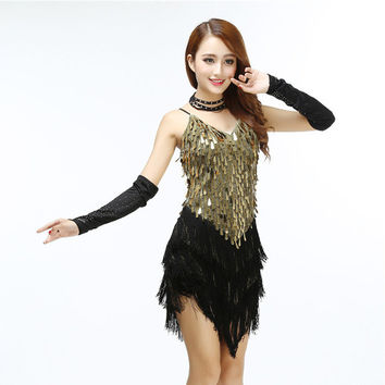 Latin Dance Sequin Dresses Shining V Neck Stage Clothing  Full Sequined Fringe Mini Sexy Party Slip Spaghetti Strap Dress