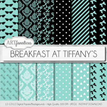 "Tiffany blue digital paper ""BREAKFAST AT TIFFANY'S"" teal, black & white bows, keys hearts for scrapbooking, invites, cards, home decor"