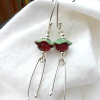 Mint green enameled bead caps, Czech Picasso glass and Argentium silver earrings