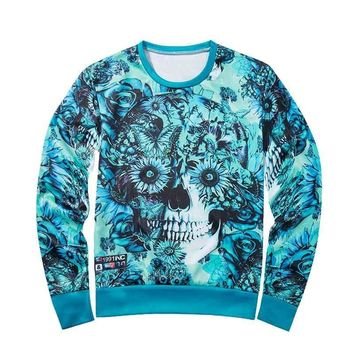 Floral Skull All Over Print Long Sleeve T-Shirts - Men's Crew Neck Novelty Sweatshirts