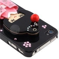 Black Kimono Girl Japanese Cute Bling Mirror Hard Case Cover for Iphone 4 4s 4g