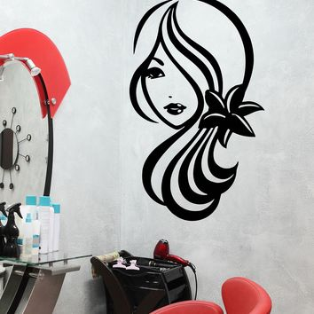 Large Vinyl Decal Sexy Girl Cute Eye Lips Hair Flowers Beauty Salon Decor Unique Gift (n938)