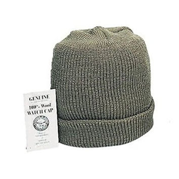 OLIVE DRAB GREEN Genuine G.I. GI US Military Army Navy Marines USMC Soldier Wool Watch Skull Winter Cap Hat Beanie MADE IN USA