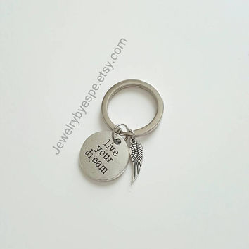 Live Your Dream Keychain Charm Key Chain Angel Wings Keychain Wedding Favors Bridesmaid Gifts