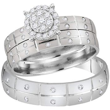 14kt White Gold His & Hers Round Diamond Cluster Matching Bridal Wedding Ring Band Set 1/3 Cttw - FREE Shipping (US/CAN)