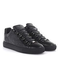 Balenciaga Men Black Low Arena Opaque black crinkled sneakers