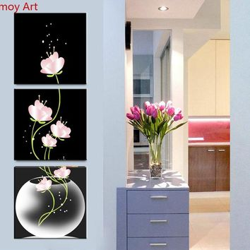 3 Piece Canvas Painting vertical wall art bottle flower Decor Modern Paintings Prints For Living Room Bedroom Wall Art No Frame