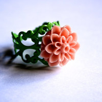 Peach Dahlia Mum Flower Cab on Soft Green Brass Filigree Ring