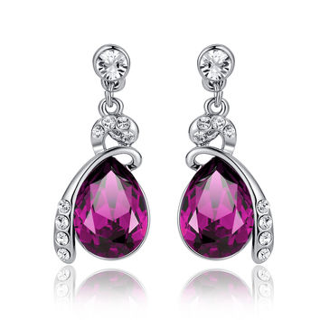 Eternal Love Teardrop Swarovski Elements Crystal Drop Earrings - Purple