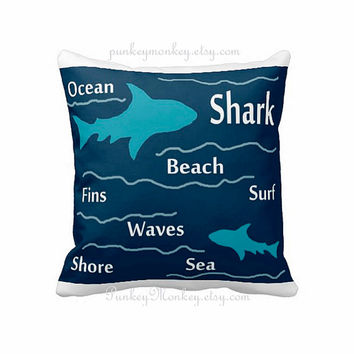 Choose your color shark pillow 16x16 square toss pillow beach theme ocean fish surf sharks bedding