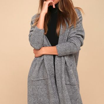 Simple Pleasure Heather Grey Long Cardigan Sweater