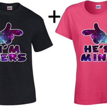 Cartoon I'm Hers He's Mine Galaxy Couples T-Shirts Anniversary Gift His and Hers Boyfriend Girlfriend Shirts Valentines Day Husband Wife