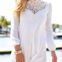 White Lace Accent Long Sleeve Chiffon Mini Shift Dress