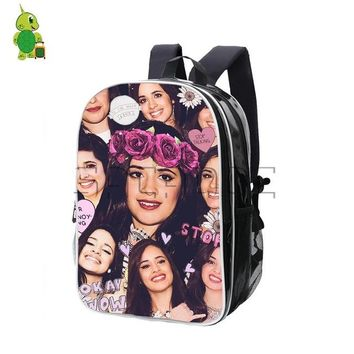 University College Backpack Popular Camila Cabello Overlay Women Men  Super Star PU Leather Laptop Bags  Students School Travel AT_63_4