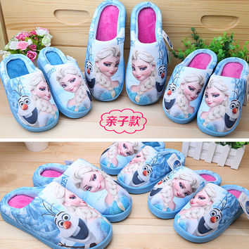 Children Slippers Winter Kids House Shoes Elsa Anna Hello Kitty Slippers Minnie Mouse Mother and Daughter Shoes Kawaii Slippers