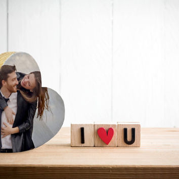 """6""""x6"""" Personalized photo printed on a heart shape wood surface - Valentine's gift"""